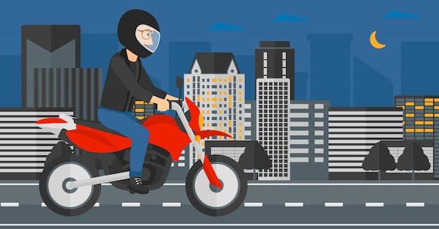 Moto de equitação do homem. Vetor Premium