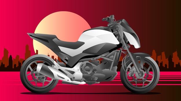 Moto esportiva com fundo da cidade Vetor Premium