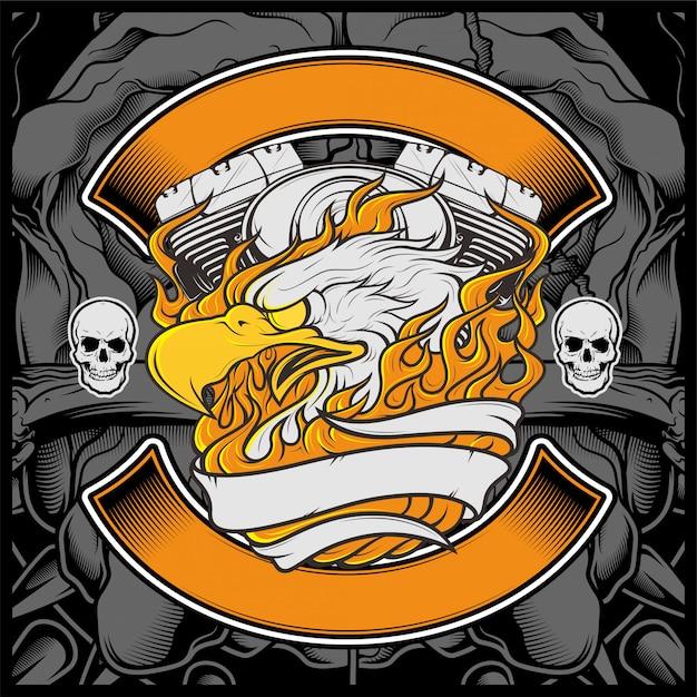 Motocicleta, águia americana, logotipo, emblema, desenho gráfico, águia, ilustração, - Vetor Premium