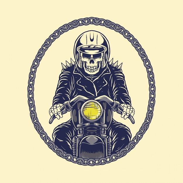 Motocicleta de motociclista de crânio de ilustração com corrente Vetor Premium