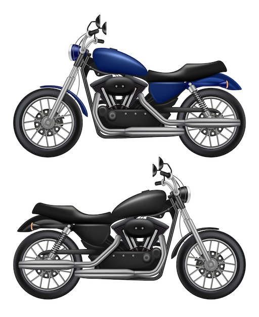 Motocicleta realista. veículo vintage de motocicleta esportiva de transporte urbano Vetor Premium