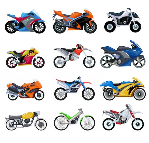 Motocicletas Do Esporte Transportam Conjunto De Ilustracao De