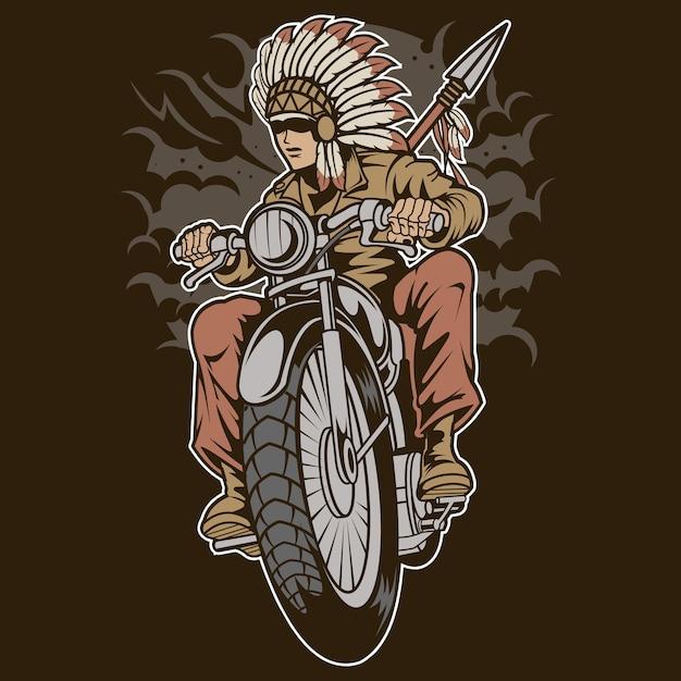 Motociclista nativo indiano Vetor Premium