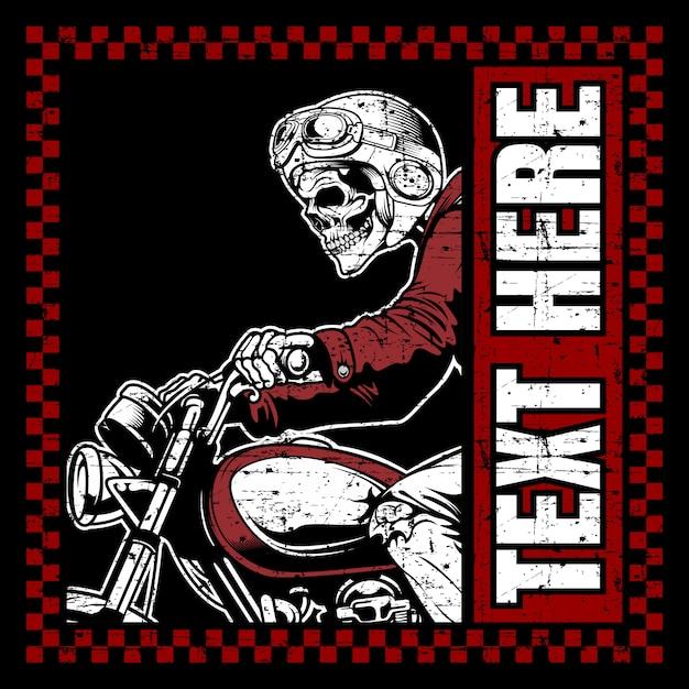Motociclistas de crânio usando capacete mão desenho vetorial Vetor Premium