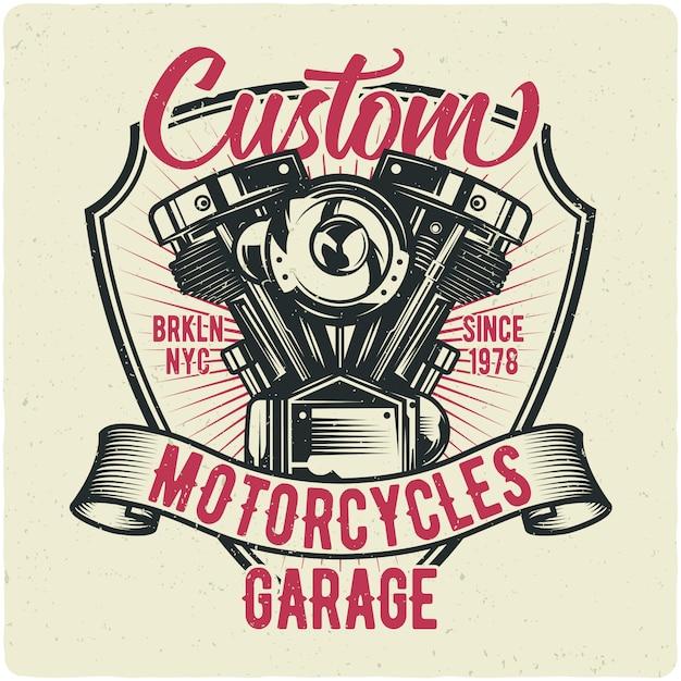 Motor de motocicleta Vetor Premium