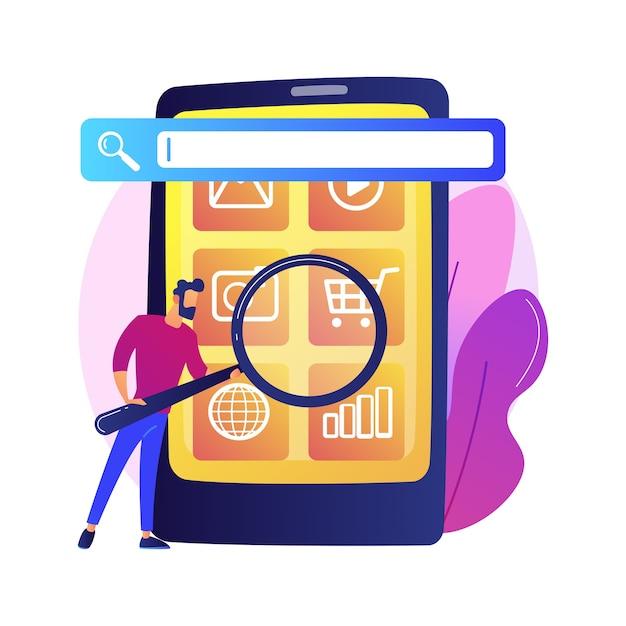 Motor de otimização de busca. promoção online. personagem de desenho animado do gerente de smm. configurações móveis, ajuste de ferramentas, plataforma de negócios. análise do site. Vetor grátis
