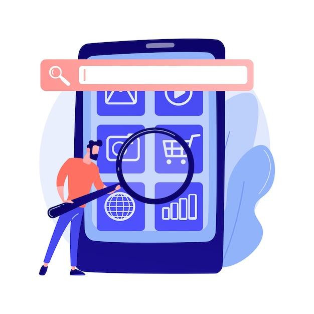 Motor de otimização de busca. promoção online. personagem de desenho animado do gerente de smm. configurações móveis, ajuste de ferramentas, plataforma de negócios. ilustração do conceito de análise de site Vetor grátis