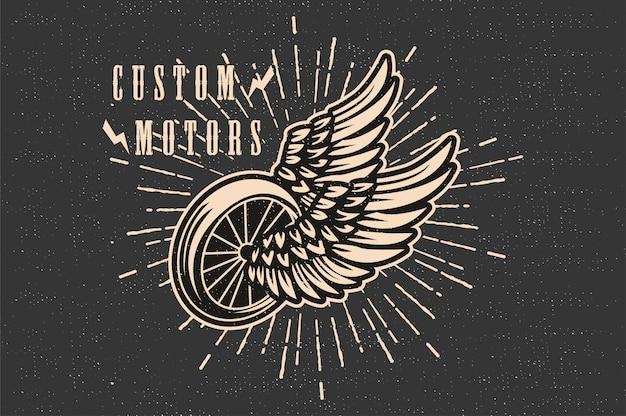 Motor personalizado vintage Vetor Premium