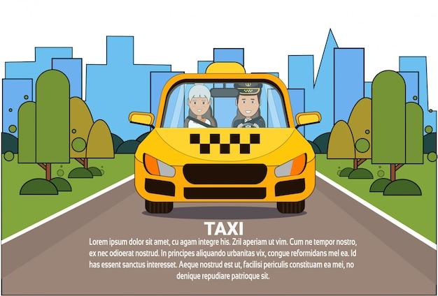 Motorista de serviço de táxi e mulher passageiro em carro de táxi de automóvel amarelo Vetor Premium