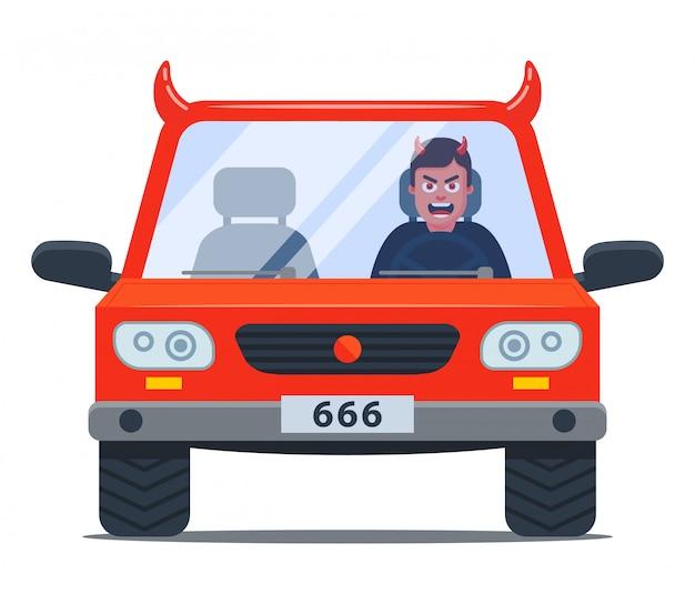 Motorista louco em um maldito carro. condução agressiva. ilustração de personagem plana Vetor Premium