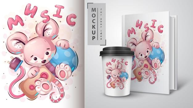 Mouse com poster de microfone e merchandising Vetor Premium