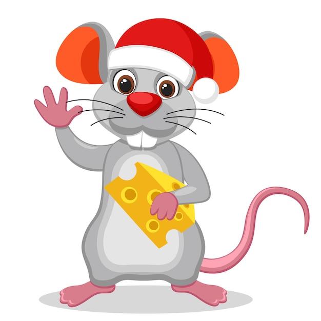 Mouse com um chapéu de natal segurando um pedaço de queijo e acenando sobre um fundo branco. o ano do mouse Vetor Premium