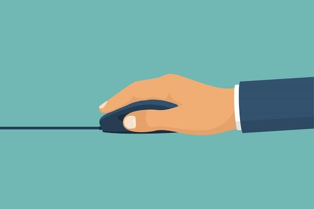 Mouse nas mãos. pressione a tecla, cursor. dispositivo de pc. Vetor Premium