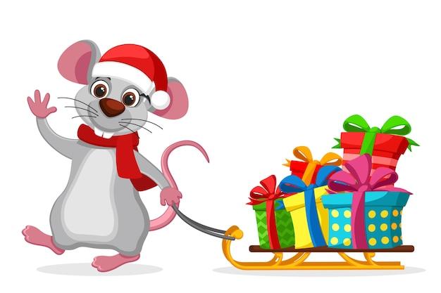 Mouse puxa um trenó com caixas de presente em um fundo branco. personagem de ano novo Vetor Premium