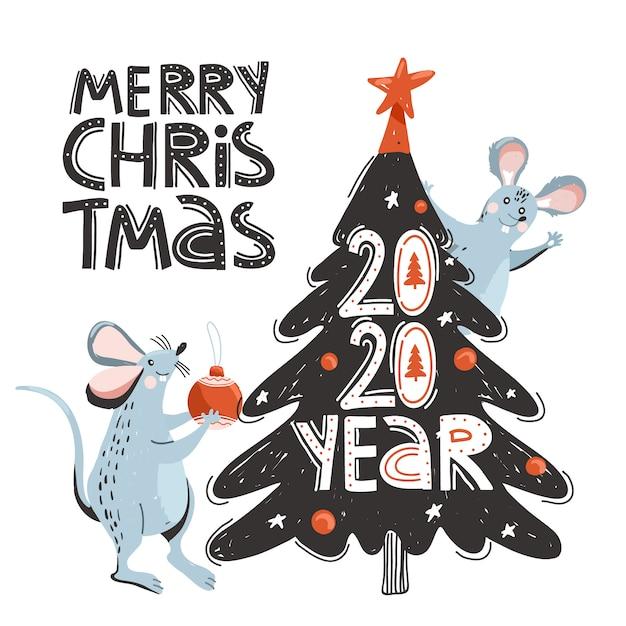 Mouses bonitos decoram a árvore de natal. Vetor Premium