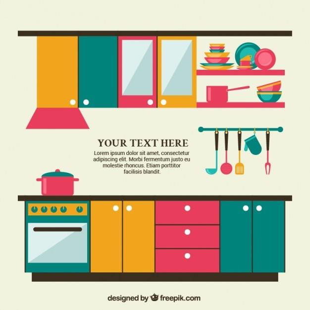 Móveis de cozinha coloridos Vetor grátis