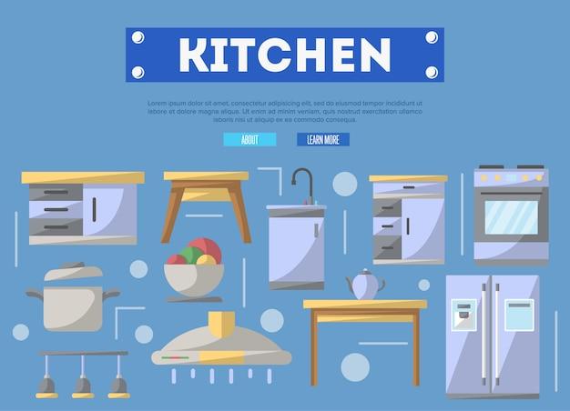Móveis de cozinha em estilo simples Vetor Premium