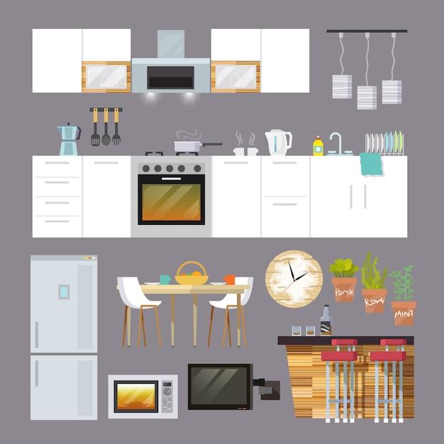 Móveis de cozinha flat Vetor grátis