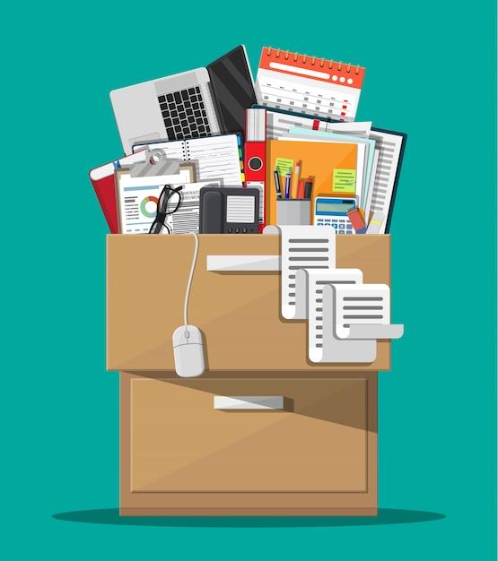 Móveis de escritório. armário, armário, gaveta Vetor Premium