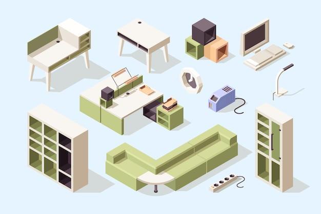 Móveis de escritório. isométricas cadeiras mesas mesas sofás armários ferramentas para a coleção de móveis de elegância empresarial. escritório de móveis de negócios, estante e mesa, mesa para ilustração de interiores Vetor Premium