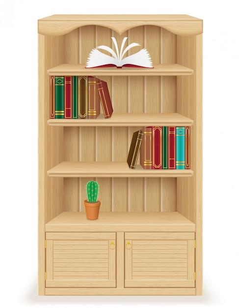 Móveis de estante feitos de madeira Vetor Premium