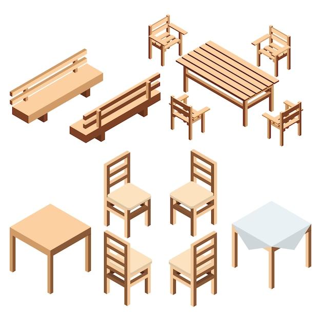 Móveis de jardim e casa isométricos. um parque de bancada e cadeiras com uma mesa de tábuas de madeira. uma mesa com um pano para cozinha e sala de jantar. Vetor Premium