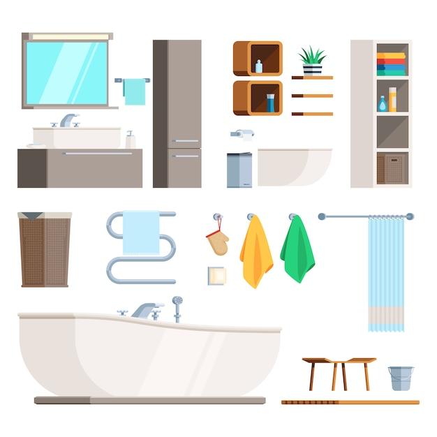 Móveis e equipamentos para banheiro Vetor Premium