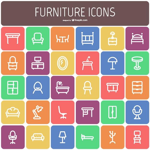 Móveis ícone coleção Vetor grátis