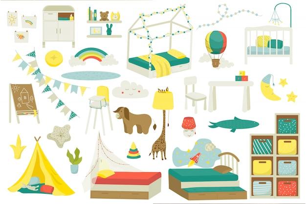 Móveis infantis para quarto de bebê ou sala de jogos, conjunto de ilustração. interior do berçário com brinquedos, cama infantil, mesa, cadeiras e lâmpadas, decorações. móveis domésticos de interior para crianças. Vetor Premium