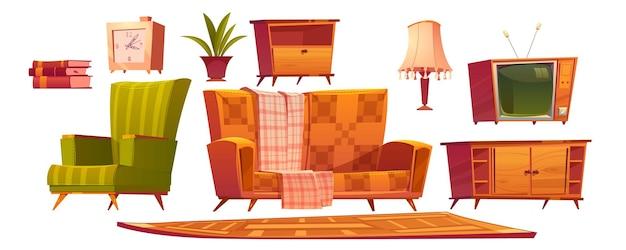 Móveis retrô para sala de estar e sofá estofado Vetor grátis
