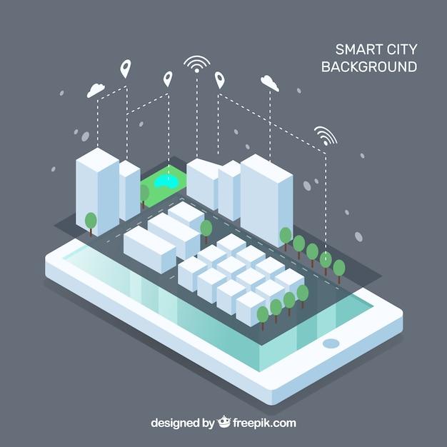 Móvel com cidade inteligente em estilo isométrico Vetor grátis