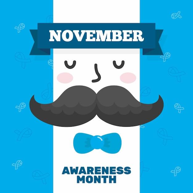 Movember conceito em design plano Vetor grátis