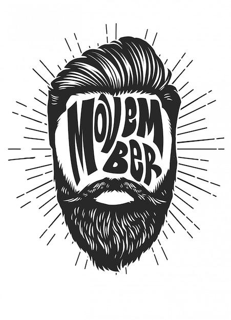 Movember design vintage com cabeça de homem barbudo Vetor Premium