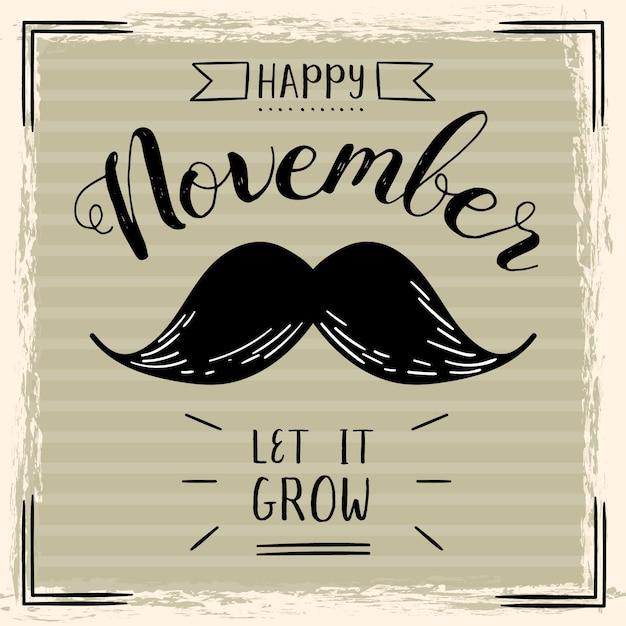 Movember vintage deixá-lo crescer fundo Vetor grátis