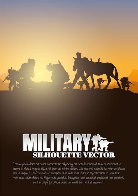 Movendo feridos, militares, fundo do exército, silhuetas de soldados, artilharia, cavalaria, aerotransportado, exército médico. Vetor Premium