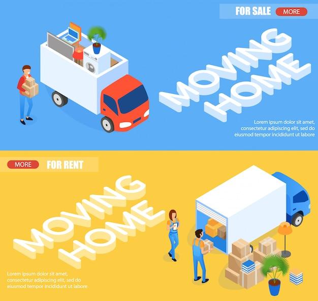 Mover para casa para alugar e para venda banners Vetor Premium