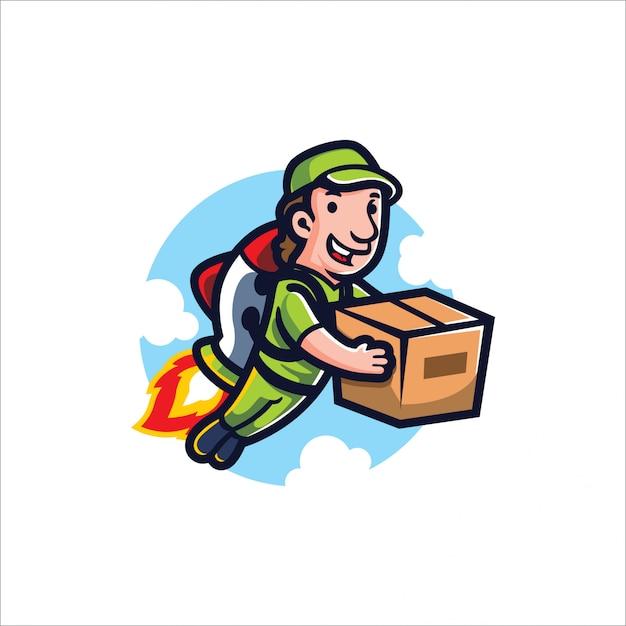 Movimento de foguete dos desenhos animados Vetor Premium