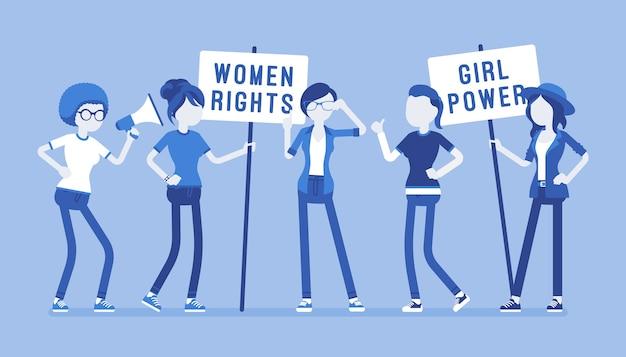 Movimento social feminista Vetor Premium