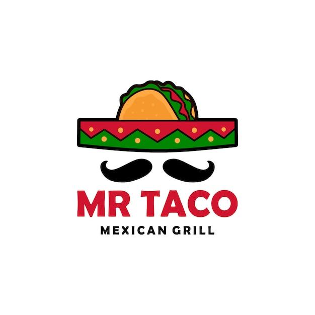 Mr taco sombrero chapéu bigode logo vector icon ilustração Vetor Premium