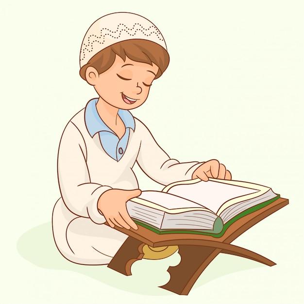 Muçulmano garoto personagem leitura alcorão Vetor Premium