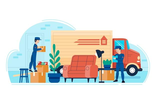 Mudança de casa e pessoas carregando móveis Vetor grátis