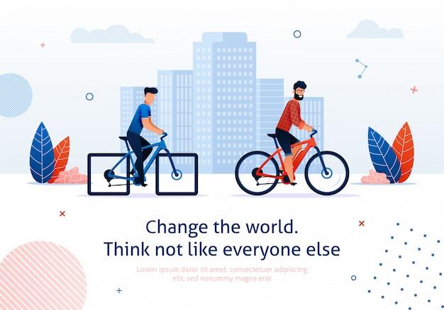 Mude a bicicleta elétrica do passeio do homem dos desenhos animados do mundo Vetor Premium