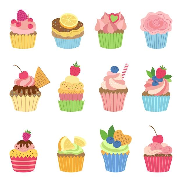 Muffins de baunilha e cupcakes com chocolate. ilustração vetorial em estilo simples Vetor Premium