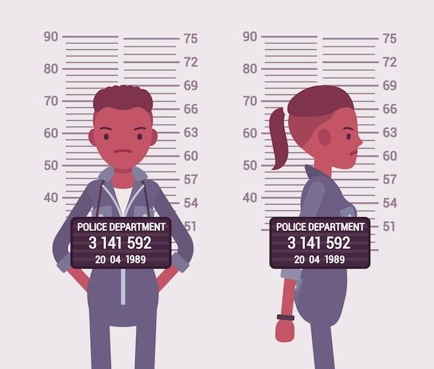 Mugshot de uma jovem negra Vetor Premium