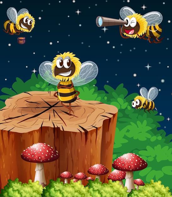 Muitas abelhas que vivem na cena do jardim à noite Vetor Premium