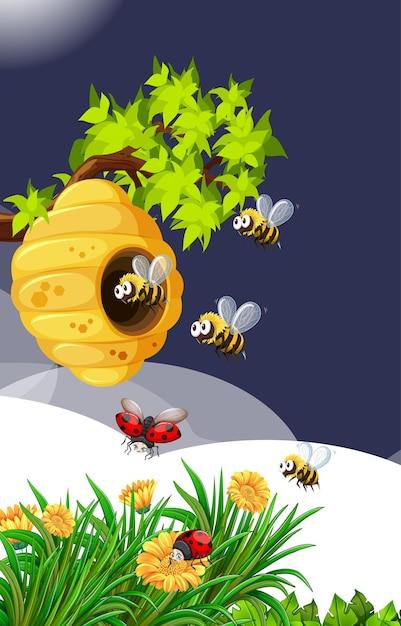 Muitas abelhas que vivem na cena do jardim com favo de mel e joaninhas Vetor grátis