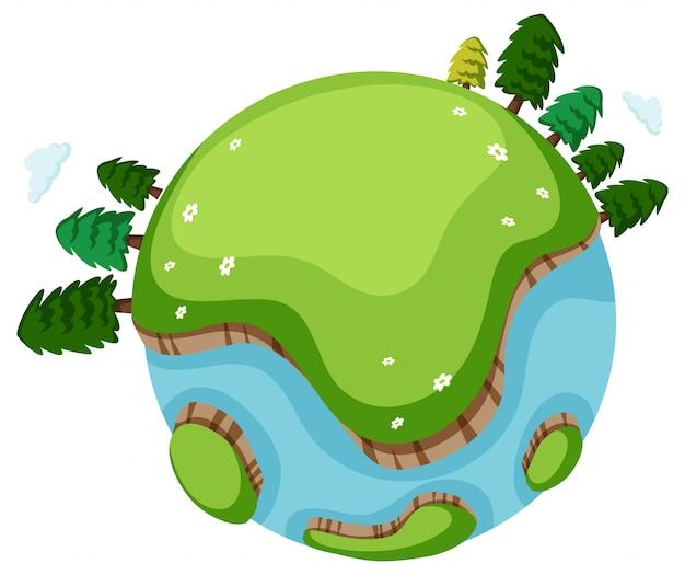 Muitas árvores e grama verde na terra Vetor grátis