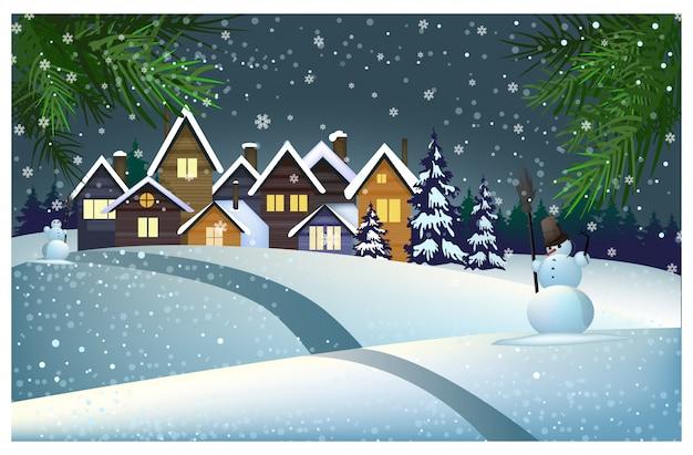 Muitas casas com neve no telhado na ilustração da cidade Vetor grátis