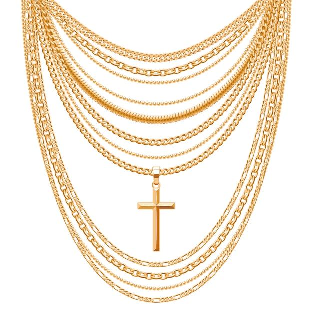 Muitas correntes. colar metálico dourado com cruz. acessório de moda pessoal. Vetor Premium