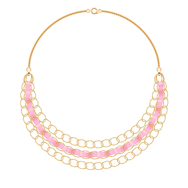 Muitas correntes. colar metálico dourado com fitas rosa. acessório de moda pessoal. Vetor Premium